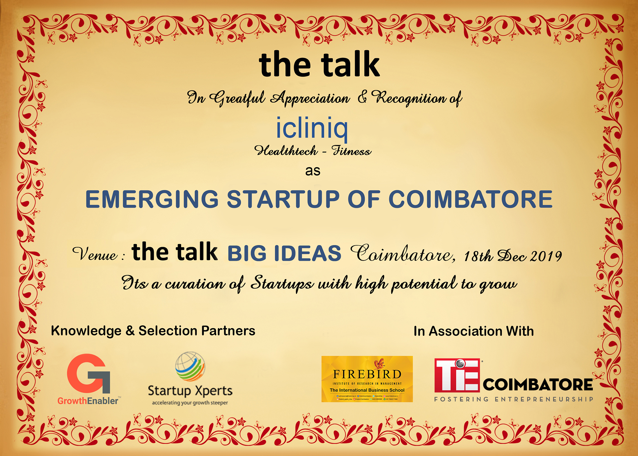 the talk - Big Ideas To Scale SME's And Startups The Westin, Hyderabad - 06th March 2019