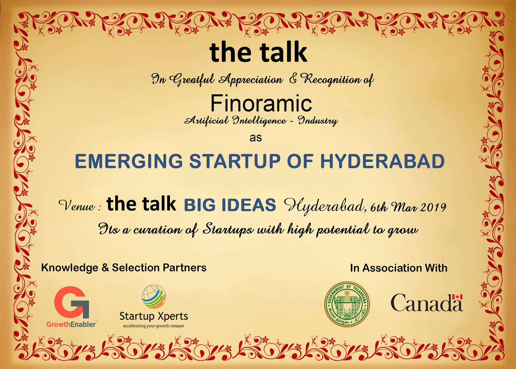 the talk - Big Ideas To Scale SME's And Startups The Westin, Hyderabad - 06th May 2019